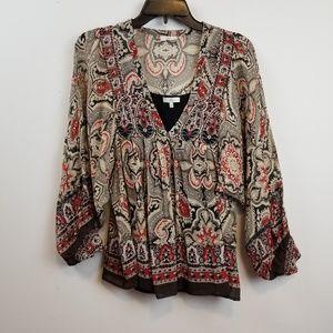 Joie silk paisley print blouse size XS